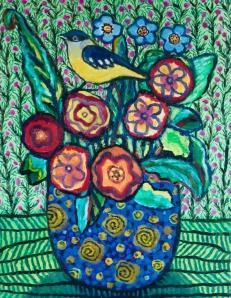 Amongst Flowers - oil on board - 46x36cm