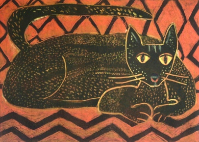 Black Cat - monoprint - 30x42cm