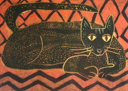 Black Cat - monoprint - 30x42cm