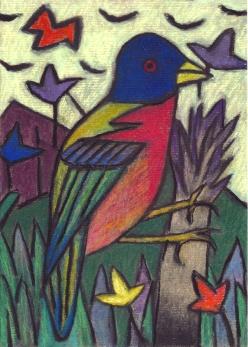 Blue Bird - chalk pastel on paper - 29x21cm