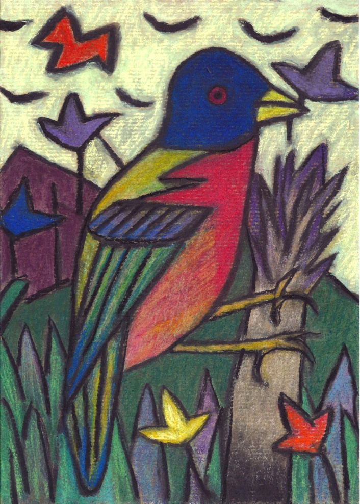 Blue Bird - chalk pastel on paper - 29x21cm