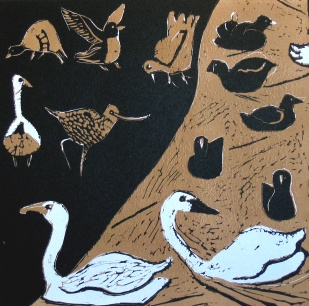 Blue Swans - reduction linocut - 30x30cm