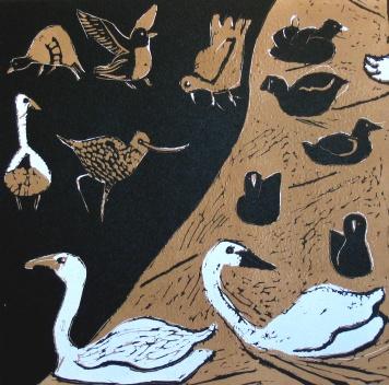 Blue Swans - reduction linocut - 30x30cm