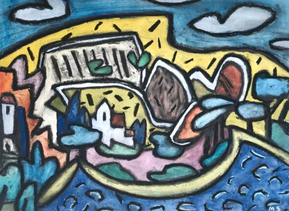 Large seascape - gouache, charcoal - 29x40cm