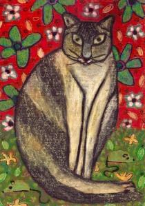Cat in Flowers - chalk pastel on paper - 29x21cm