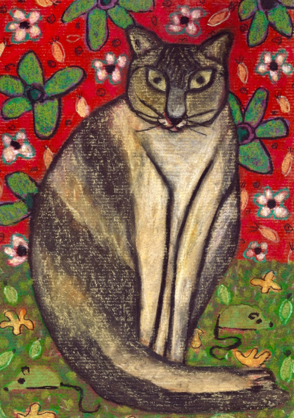 Cat in Flowers - chalk pastel on paper - 29x21cm