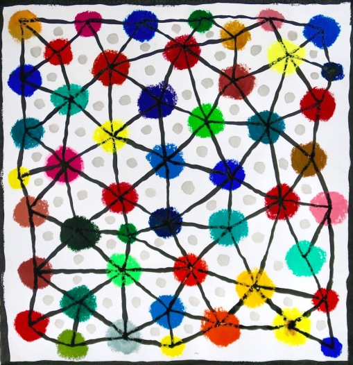Dots vs Lines - oil pastel, ink on paper - 27x28cm