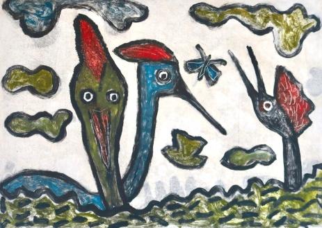Early Birds - monoprint - 30x42cm
