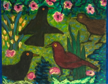 Five Blackbirds - oilbar on paper - 27x35cm