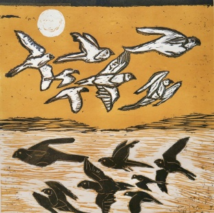 Flight - reduction linocut - 30x30cm
