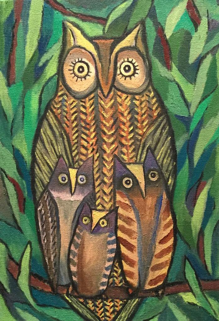 Four Owls - oil on canvas - 36x26cm