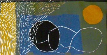 Full Moon - linocut, chine colle - 18x30cm