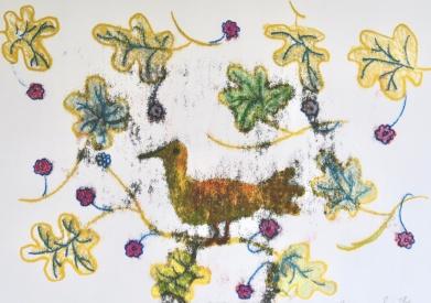 Golden Bird - monoprint - 30x42cm