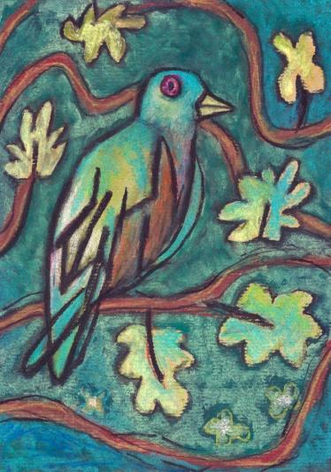 Green Bird - chalk pastel on paper - 29x21cm