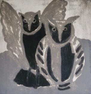 Grey Owls - carborundum - 47x46cm