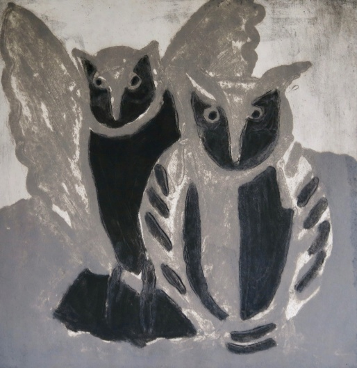 Grey Owls - carborundum - 47x46cm