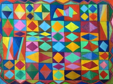 Diamonds - gouache and crayon on paper - 41x55cm