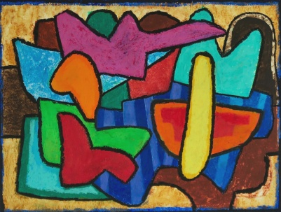 Yellow Oblong - oil pastel on paper - 25x34cm