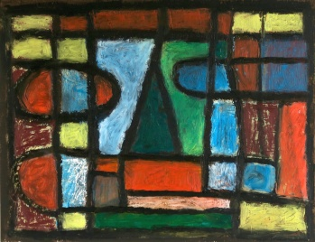 Green Triangle - oilbar on paper - 27x35cm