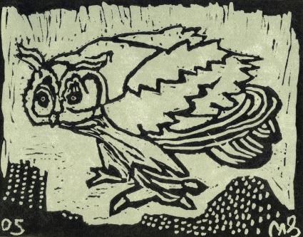 Little Owl - linocut - 15x20cm