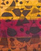 Magenta Dusk - drypoint on acrylic - 25x20cm