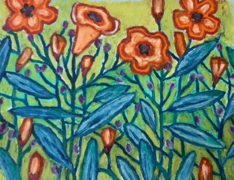 Orange Flowers - oilbar on paper - 25x33cm