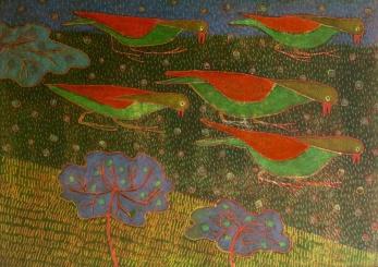 Pecking - monoprint, hand colouring - 30x42cm