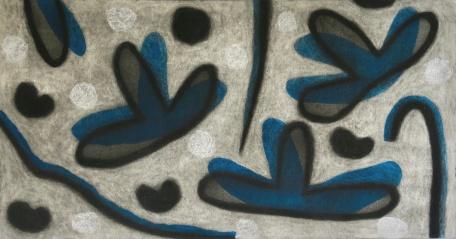 Petals - chalk pastel, collage on paper - 32x60cm