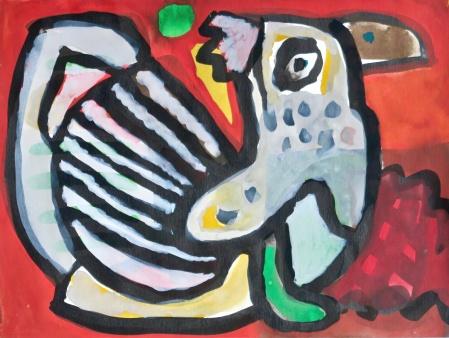 Proud Bird - gouache on paper - 24x32cm