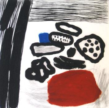 Red, Blue and Black - drypoint, carborundum - 30x30cm
