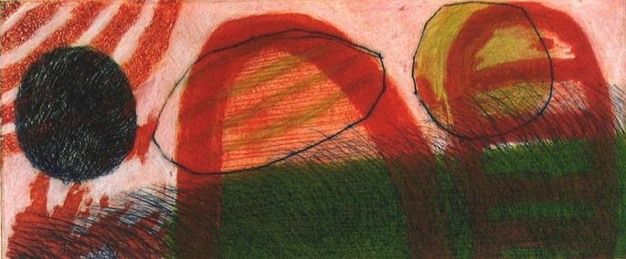 Red Landscape - drypoint, carborundum - 13x30cm