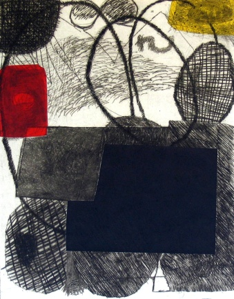 Red Rectangle - drypoint, chine colle - 29x22cm