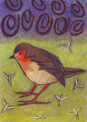 Robin - chalk pastel on paper - 29x21cm