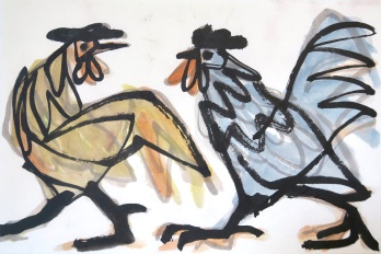 Roosters - ink and watercolour on paper - 30x45cm