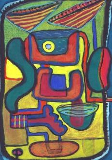 Small Yellow Circle - gouache, crayon on paper - 29x21cm