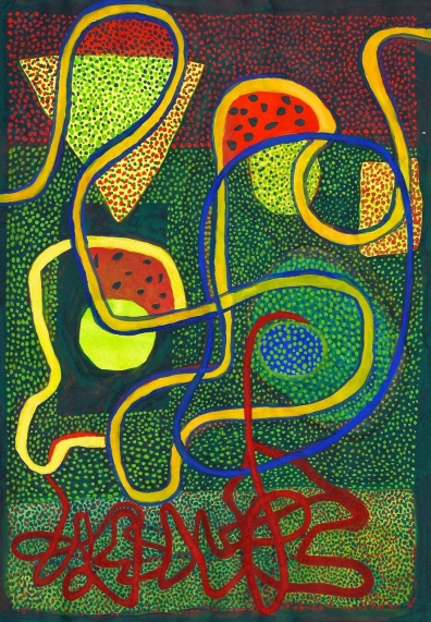 Red Ribbon - gouache on paper - 29x21cm