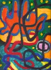 Tangle - oilbar on paper - 34x26cm
