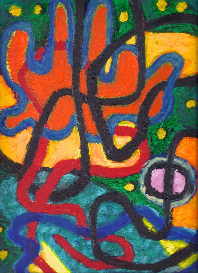 Tangle - oilbar on paper - 34x26cm