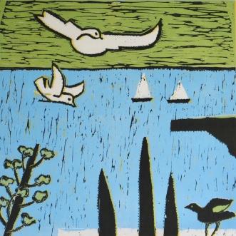 Seagulls - reduction linocut - 30x30cm