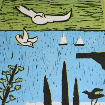 Seagulls - reduction linocut - 30x30cm