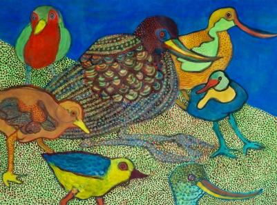 Seven Birds - gouache - 29x40cm