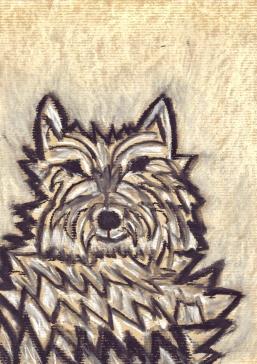 Shaggy Dog - chalk pastel on paper - 29x21cm
