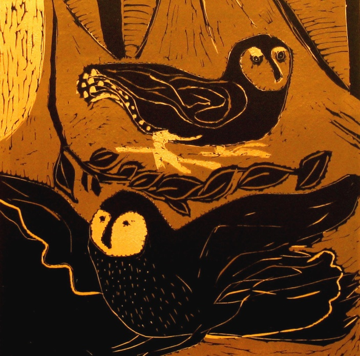 Small Owls - reduction linocut - 30x30cm
