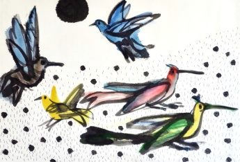 Some Birds - ink, watercolour on paper - 31x45cm