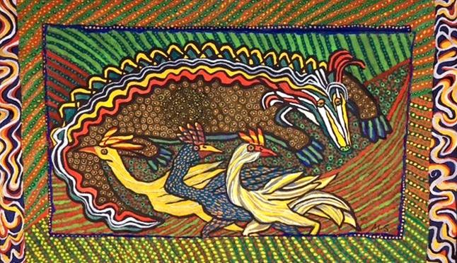 The Old Croc - gouache on paper - 44x74cm
