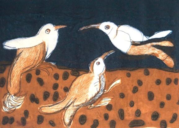 Three Birds - drypoint, carborundum - 21x20cm