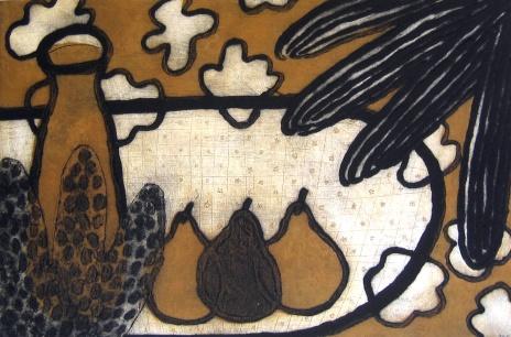 Three Pears - collagraph - 40x60cm