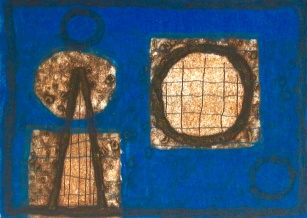 Too Blue - collagraph - 21x29cm