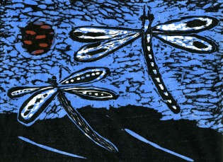 Two Dragonflies - woodcut - 15x20cm