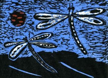 Two Dragonflies - woodcut - 15x20cm
